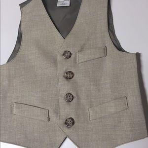 Vest (suit) 12 mos, light tan, darker lining,back.